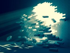 breakthrough depicted in a brick wall being broken open