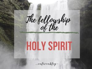 """Waterfall, text """"The fellowship of the Holy Spirit"""""""