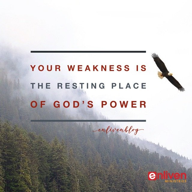 Your Weakness is the Resting Place of God's Power. Eagle flying, mountain
