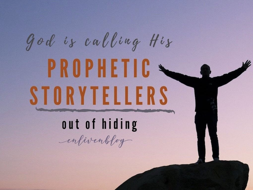 God is Calling Prophetic Storytellers out of Hiding, Person standing on rock, arms raised