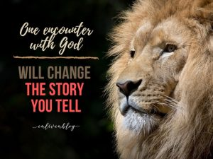 """Face of Lion, Text """"One encounter with God will change the story you tell"""""""