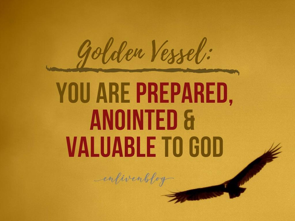 Golden vessel, eagle flying