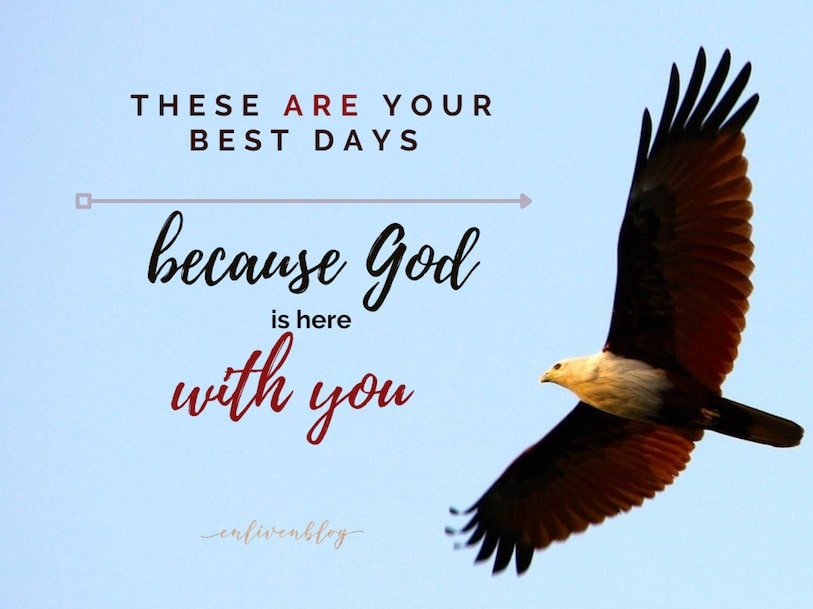 Eagle flying, text these are your best days because God is with you