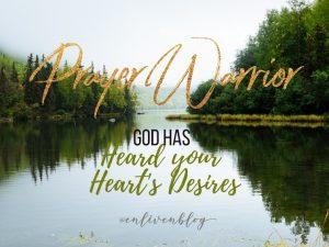 "Lake and trees, text ""Prayer Warriors"""